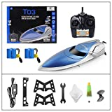 RC Boat Pool Toys High Speed (20MPH+) Remote Control Boat for Pools and Lakes 2.4GHz RC Racing Boats for Adults & Kids + Bonus Battery (Blue & White)