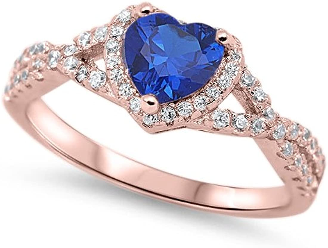 Blue Apple Co Halo Infinity Shank Heart Promise Ring Round Cubic Zionia 925 Sterling Silver Choose Color