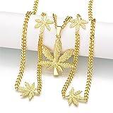 Yooce Marijuana Pot Leaf Pendant Necklace Cannabis Hemp Weed Necklace Chain Golden