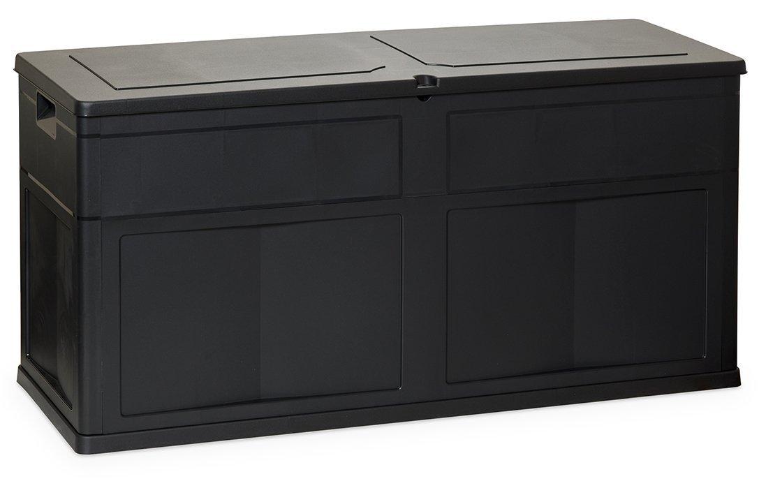GYD Box Aufbewahrungsbox VerstauungskastenAuflagenbox Kissenbox mit Kissen, Anthrazit, Wasserdicht, Schwarz, 320 L, 119 x 46 x 60 cm 78889b