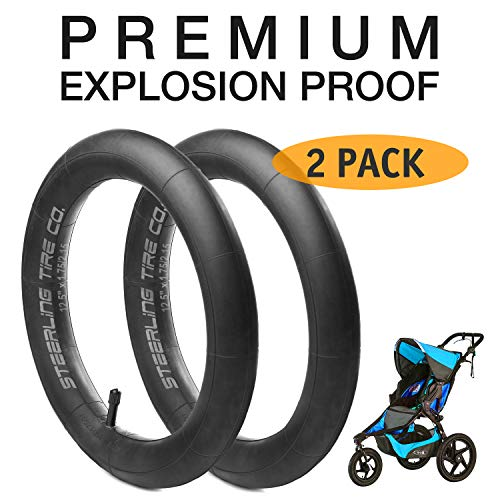 [2 Pack] 12.5 x 1.75/2.15 Premium Explosion Proof Front Inner Tire Tube for All BOB Revolution Strollers, Stroller Strides and CE & AW - The Perfect BOB Stroller Tire Tube Replacement