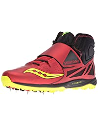 Saucony Men's Lanzar Jav2 Track and Field Shoe, red/Citron
