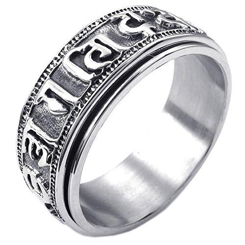 KONOV Mens Stainless Steel Ring, Tibet Spinner Om Mani Padme Hum, Black, Size 10