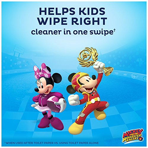 Cottonelle Flushable Toddler Wipes for Kids, 6 Flip-Top Packs, 270 Fragrance-Free Wet Wipes in Disney Packaging, Mickey Mouse