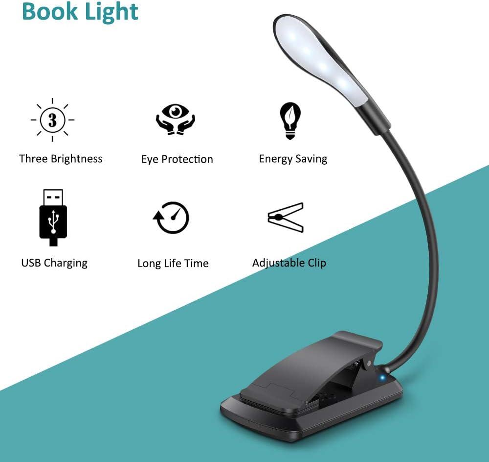 E-Reader Nacht Lesen Leselampe Buch Klemme Cocoda Touch Switch Klemmlampe USB Wiederaufladbar 7 LEDs Buchlampe mit 3 Farbtemperatur 360/° Flexibel Augenschutz Mini Klemmleuchte Dimmbar f/ür Buch