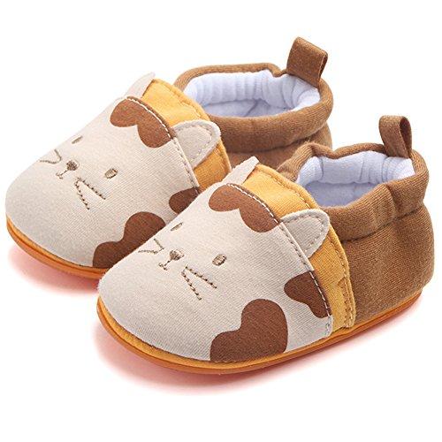 Minetom Unisex Kleine Junge Mädchen Baumwolle Weicher Lauflernschuhe Krabbelschuhe Babyhausschuhe Mit Rutschfest Gummipads Kleinkind 0-18 Monate Shoes Braun