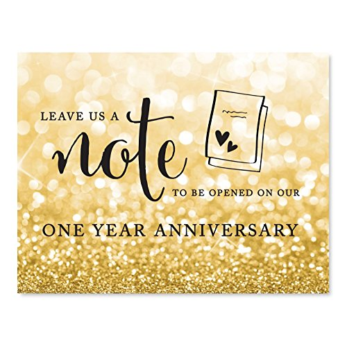 - Andaz Press Wedding Party Signs, Glitzy Gold Glitter, 8.5x11-inch, Time Capsule Leave Us A Note to Be Opened On Our One Year Anniversary Sign, 1-Pack