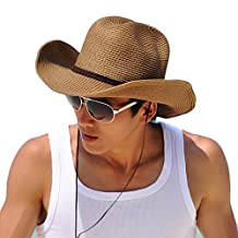 Straw Cowboy Hat Outdoor Kaimao Sun Beach Hat Wide Brim Foldable for Men 56-58cm - Khaki