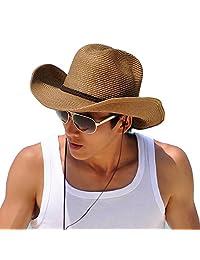 Straw Cowboy Hat Outdoor Kaimao Sun Beach Hat Wide Brim Foldable for Men 56-58cm - Khaki