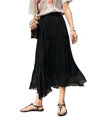 DianShaoA Mujer Temperamento Faldas Gasa Largas Estampadas Falda Cintura  Elástica Negro  Amazon.es  Ropa y accesorios d24fc05ff71e