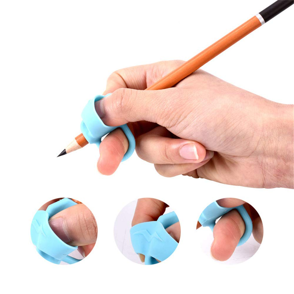 MMRM2 Children Pencil Holder?Silicon Pen Handwriting Aid Grip Trainer Posture Correction Finger Grip for Kids (Blue) by MMRM2 (Image #4)