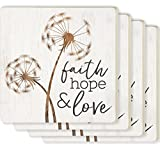 Faith Hope & Love Dandelion White 4 x 4 Ceramic Coaster 4 Pack