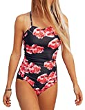 Lemosery Women's Padded Halter One Piece Monokini Swimsuit, Red, L (US 8-10)