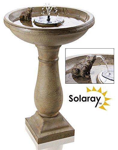 Ambienté Frosch und Wasserrosen Vogelbad-Brunnen mit Beleuchtung - mit Solarenergie betrieben