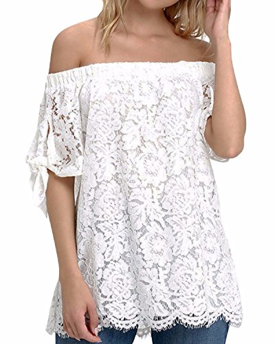 StyleDome Women's Lace Crochet Off Shoulder Short Sleeve Tops Tee Shirt Blouse Off White US 10
