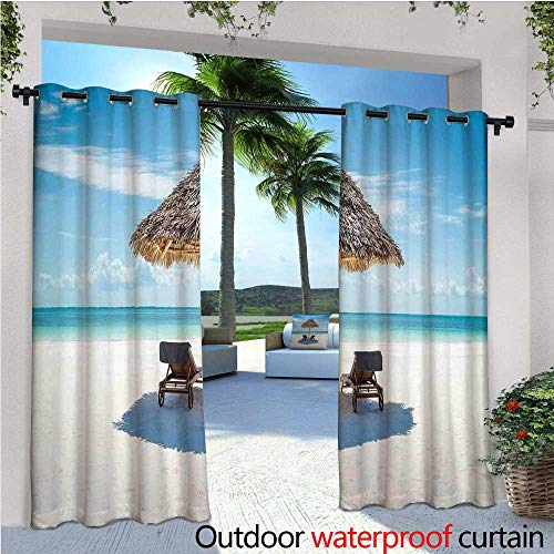 cobeDecor Seaside Indoor/Outdoor Single Panel Print Window Curtain Wooden Sun Loungers Facing Eastern Ocean Under a Thatched Umbrella in Zanzibar Silver Grommet Top Drape W108 x L84 Turquoise Cream