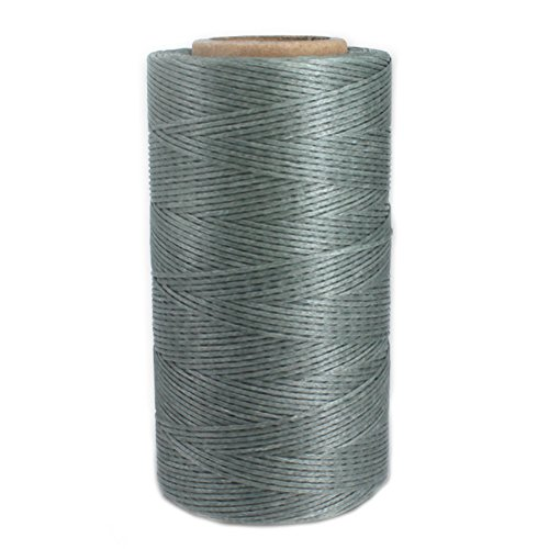 - 284 Yards Leather Sewing Flat Waxed Thread 150D 1mm Leather Hand Stitching DIY Craft String Cord (Grey)