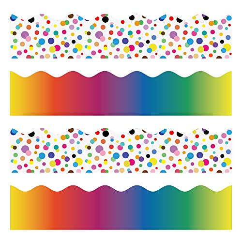 (Color Bulletin Borders Stickers, 80 ft Back-to-School Decoration Borders for Bulletin Board/Black Board/Chalkboard/Whiteboard Trim, Teacher/Student Use for Classroom/School Decoration, 2)