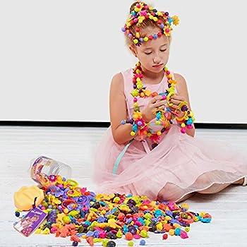 Pop Art Beads Girl Toys - Wishtime Toddler Animal Shape Pop Beads DIY Jewelry Making Kit Fine Motor Skill Toys for Girl Boys Art Craft Bead Set 162pcs Christmas Gifts