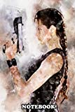"""Notebook: A Watercolor Of Angelina Jolie As Lara Croft From Tomb , Journal for Writing, College Ruled Size 6"""" x 9"""", 110 Pages"""