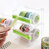 Washi Tape Dispenser for Office,Eteng Adhesive Tape Roll Holder and Desk Organizer for Home and Office 2 Packs(Green)