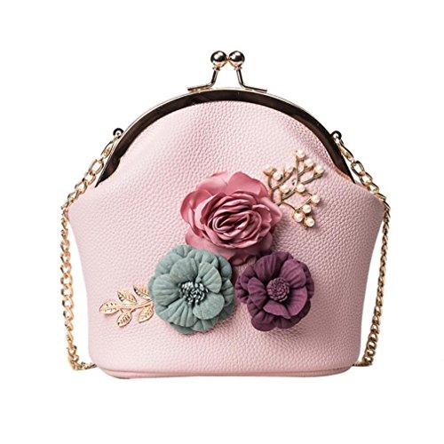 Hombro de Bolso de Hombro de Bolso Mano Estéreo Bolso El Logobeing Pequeño Bolso Mujer Para Correa Flores Con Rosado E5RqxFnwnv