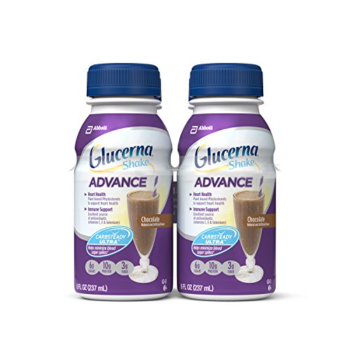 Diabetic Drink (Glucerna Advance Nutrition Shake, To Help Manage Blood Sugar, Chocolate, 8 fl oz, Pack of 16)
