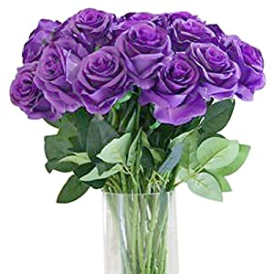 Bringsine Premium Artificial,Real Touch Pu Silk Rose Fake Flowers Home Decorations for Bridal Wedding Bouquet,Birthday Bunch Hotel Party Garden Floral Decor-Purple 1