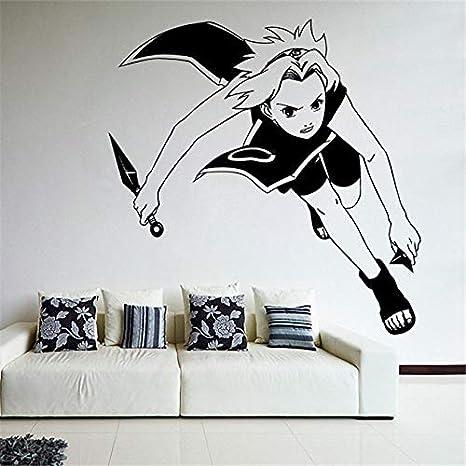 yaonuli Etiqueta de la Pared del Vinilo de la Pared de la Historieta Etiqueta de la Pared de la habitación de los niños de Anime Ninja 42X43cm