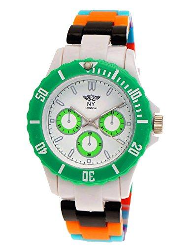 (NY London Rainbow Women Men Plastic Bracelet Watch Colorful Plastic Ladies Watch Mens Watch Wristwatch Green Blue White Black Orange incl Watch Box and Bracelet)