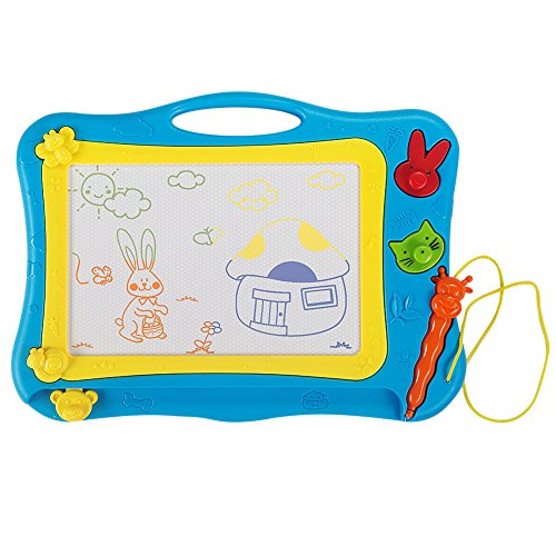 AWEOODS Magnetic Drawing Board Doodle for Kids Sketch Writing Board Learning Toys for Children's Gift(Blue)