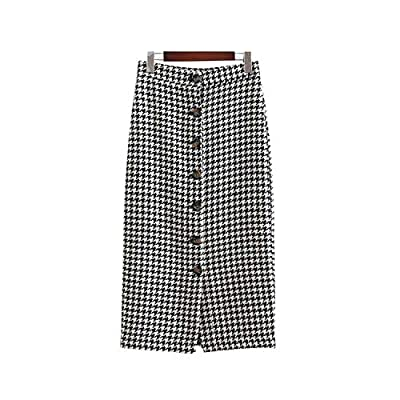Women Vintage Plaid midi Skirt Faldas Mujer Houndstooth Buttons Retro Ladies Office wear