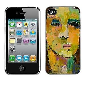 For Apple iPhone 4 / iPhone 4S / 4S Case , Face Painting Art Watercolor - Diseño Patrón Teléfono Caso Cubierta Case Bumper Duro Protección Case Cover Funda