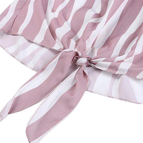 T Vtements lgant Automne Haut Femme Rose Rayure Courtes Top Chic Manches t Ouvertes Sunenjoy Casual Epaule Dnude Blouse Shirt Chemisier Cravate Batwing Taille Printemps Manches 8WHvgxw