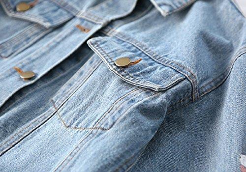 Oversized Cappotti Giacca Chiaro Lunga Azzurro Di Ricamato Jeans Denim Donne Giacche Manica zwR8Hxcq