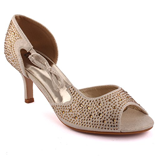Unze Mujeres 'Blac' Diamante Embellecido Peep-Toe Alto tacón de aguja Evening Party Carnaval Junte Brunch Wedding Sandalias Corte Zapatos Tamaño 3-8 Gold