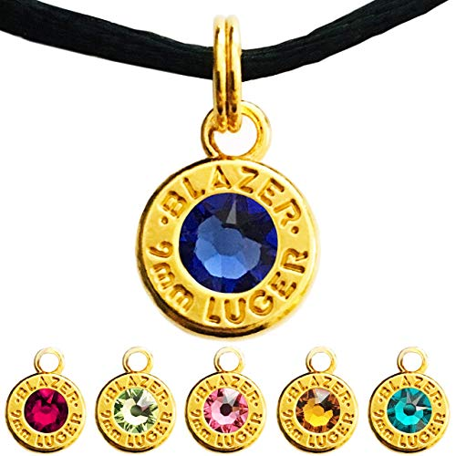 Bullet Cartridge Pendant, Swarovski Crystal Options (Birthstones July-December) - Yellow Gold Plated 9mm Ammo Shell Charm Jewelry