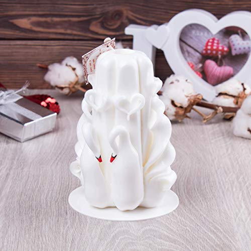 Adorable Hand Carved Candle Swans - Romantic Unity Wedding Gift Idea For Newlyweds Bribe Groom – Home Bedroom Lounge Loft Chalet Décor - 100% Handmade