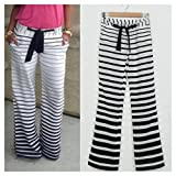 Ladies Women Stripe Casual Stretch Pant Wide Leg Long Loose Palazzo Trousers S74