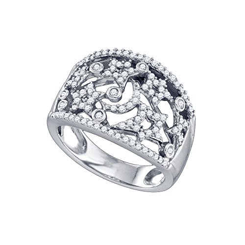 Size 5-14K White Gold Round Diamond Wide Star Pave-set Cockail Band Ring (1/2 (9k Gold Pave Diamond)