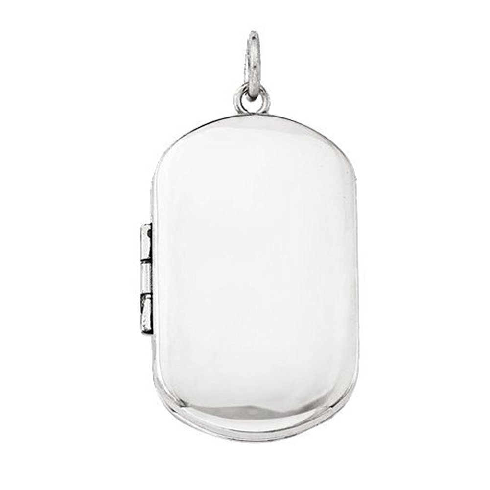 Sterling Silver Dog Tag Locket - 1 Inch X 1-1/4 Inch in Sterling Silver