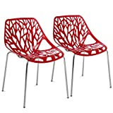 Best Choice Products Set of 2 Mid-Century Modern Eames Style Stenciled Dining Side Chairs w/Chrome-Plated Legs (Red)