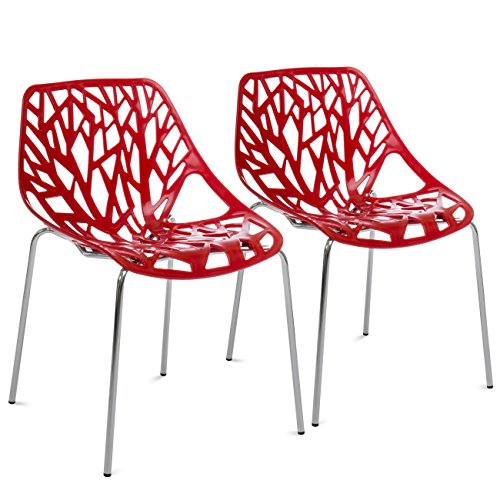 Best Choice Products Set of 2 Mid-Century Modern Eames Style Stenciled Dining Side Chairs w/Chrome-Plated Legs (Red) by Best Choice Products