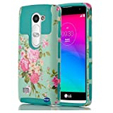 LG LEON Case, Adela Shop Peony Floral Pattern Hard PC Silicone Protective Case Non-Slip Perfect-Fit Rubber Bumper Slim Heavy Duty Dual Layer Cover For LG Leon LTE C40/Power L22C/Destiny L21G (Blue)