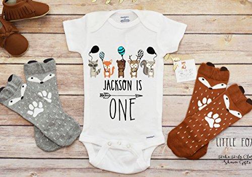First Birthday Boy, Woodland Birthday, Wild One Birthday, Fox Onesie, Fox Shirt, Fox Gift, Baby Boy Onesie by TheCritterNest