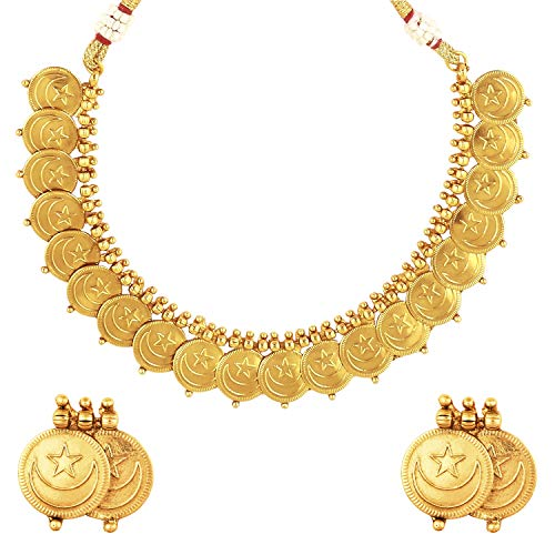 bodha 22K Traditional Indian, Islamic Arabic Chand Tara Gold Coin Necklace Set for Women (SJ_2699) ()