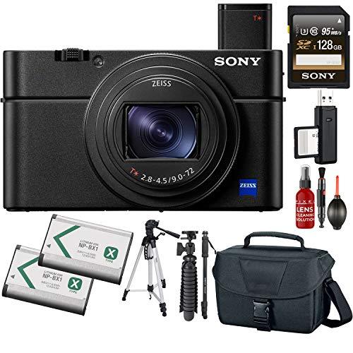 Sony Cyber-Shot DSC-RX100 VII Digital Camera + 128GB Memory Card + Tripod + Carrying Case + Monopod + Extra Battery