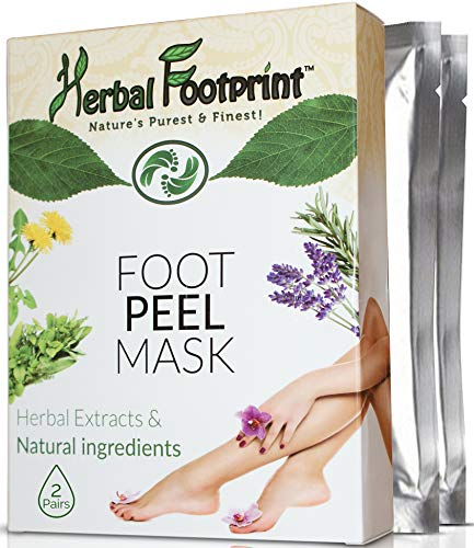 Exfoliator Herbal (Herbal Footprint Foot Peel Mask-Foot peeler exfoliation booties-Callus peeling by exfoliating dead skin cells off-Natural skin exfoliator to get soft touch feet-2 Pairs treatment socks for Men Women)