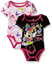 Disney Baby Minnie Mouse Adorable Soft 2 Pack Bodysuits, Yellow, 3-6 Months