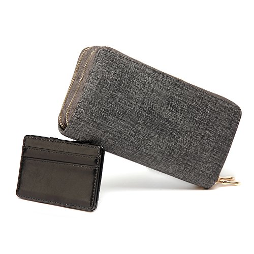 PU Leather Unisex Double Zipper Wallets Clutch Purse with Card Holder Grey Black Set by BAGS WONDERLAND